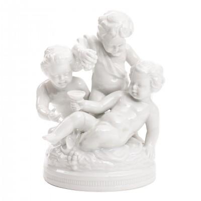 Bachus, albo Trzy Putta, porcelana sygnowana UNTERWEISSBACH, Turyngia