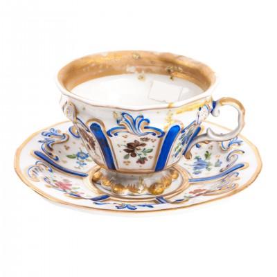 Filiżanka porcelanowa ze spodkiem, dekorowana kobaltem i złotem, porcelana sygnowana, KPM, Niemcy, XIX w.