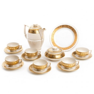Serwis do herbaty, ze złoceniami, porcelana sygn. ROYAL EPIAG ANNABELLE, Czechosłowacja, II poł. XX w.