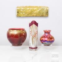 BAR OF GOLD. Rudolph Zimmerman Bamberg. Lampy w formie złotych sztabek. Szkło cukrowe i mrożone. Sygnowane RZB