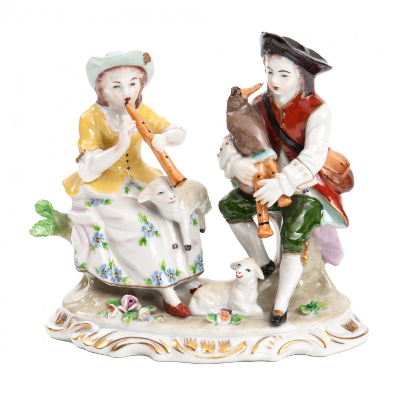 Para muzykujących pastuszków (Fête champêtre), figurka porcelanowa, sygnowana, ALFRED VOIGT, Sitzendorf, Turyngia