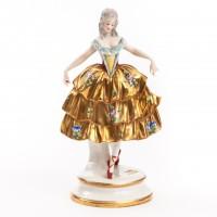 Tancerka w złotej spódnicy, figurka porcelanowa, sygnowana, ERNST BOHNE & SÖHNE, Turyngia