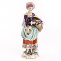 Kwiaciarka, figurka porcelanowa, sygnowana, Anglia, Chelsea/Derby, 1756-75 r.
