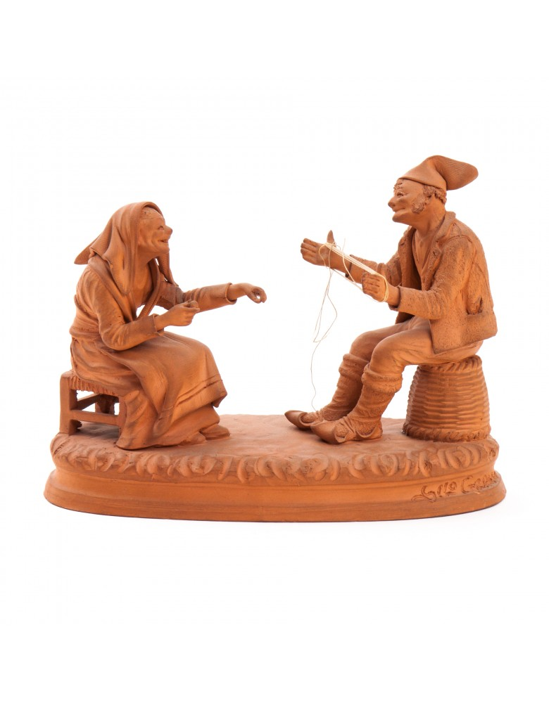 Sycylijczycy grający w Ayatori, figurka terakotowa, sygn. S-no GRASSO, Sycylia, Katania, lata 40 XX w.