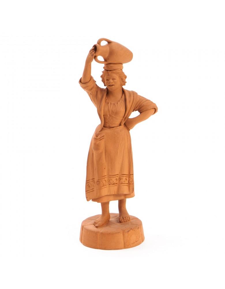 Sycylijska kobieta z dzbanem, figurka terakotowa, sygn. S-no GRASSO, Sycylia, Katania, lata 40 XX w.
