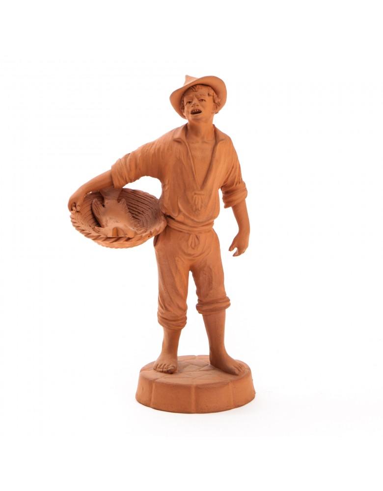 Sycylijski sprzedawca ryb, figurka terakotowa, sygn. S-no GRASSO, Sycylia, Katania, lata 40 XX w.