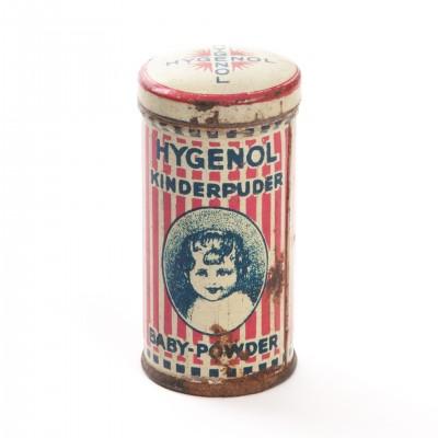 Puszka kosmetyczna na puder dla dzieci Hygenol, I poł. XX w.