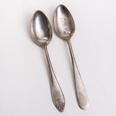 Dwie łyżki obiadowe, plater/Neusilber, sygn. BMF (BERNDORF), ok. 1880-1927