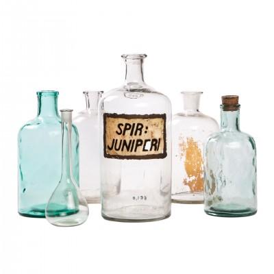 Zestaw butelek aptecznych, szkło błękitne i bezbarwne, 6 szt.