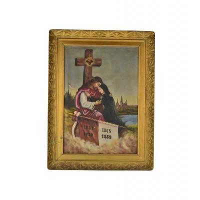 Obraz przedstawiający Chrystusa oraz personifikację Polski, olej na płótnie