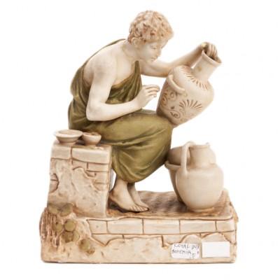 Garncarz grecki przy pracy, figurka sygn. ROYAL DUX BOHEMIA