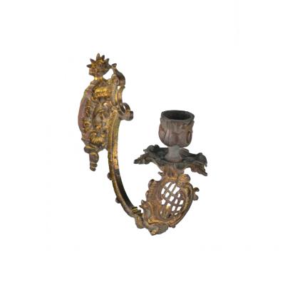 Kinkiet Rocaille. Brąz złocony, Ormulu