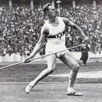 Rzut oszczepem - grafika sportowa z XI Letnich Igrzysk Olimpijskich w Berlinie w 1936 r.