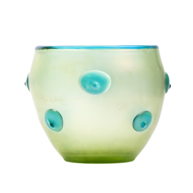 Iryzujący wazon autorski z turkusowymi guzkami. Szkło barwione. Iryzowane. Loetz Witwe