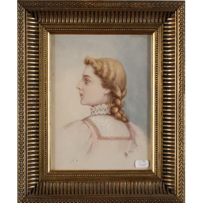 Młoda kobieta w stroju historycznym. Sygnowany E. M.  31/12 1898. Akwarela na papierze.