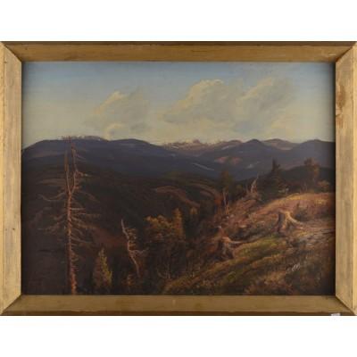 """""""Góry"""", autor nieznany. Olej na desce (?)."""
