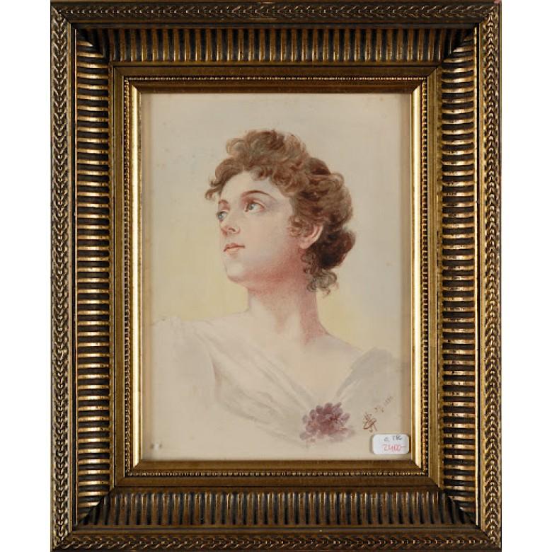 """Młoda kobieta. Sygnowany inicjałami autora: E.M."""" oraz datą: 30/5 1898. Akwarela na papierze."""