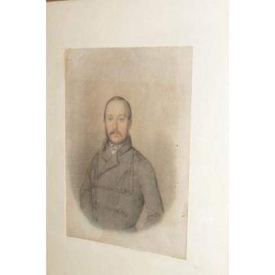 Portret mężczyzny w stroju z epoki. 1 poł. XIX wieku. Pastel na papierze.