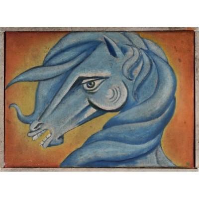 Błękitny koń, autor nieznany. Olej na płótnie. Sygnowany RK