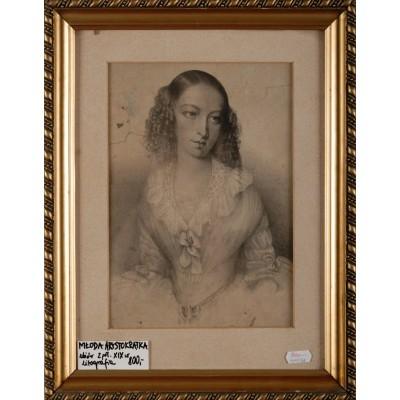 Portret młodej dziewczyny, Litografia. II poł. XIX wieku.