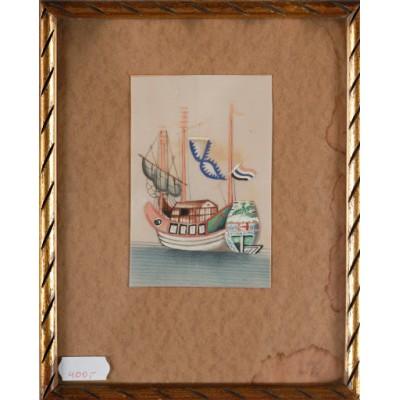 Statek holenderski, autor nieznany. Akwarela, gwasz (?). XVIII/XIX w.