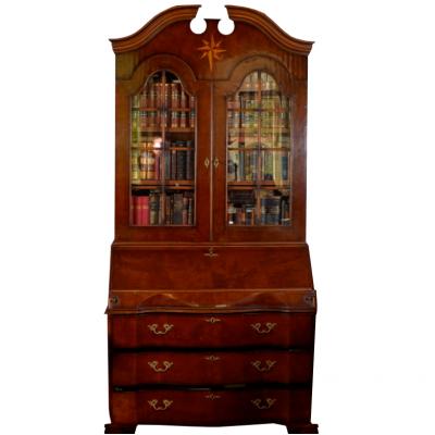 Biblioteka angielska a w stylu neobarokowym. Drewno orzechowe, politurowane, okleina. XX w.
