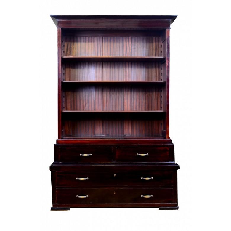 Biblioteka w typie polskim, otwarta z szufladami w dolnej kondygnacji. Lata 20. XX w.