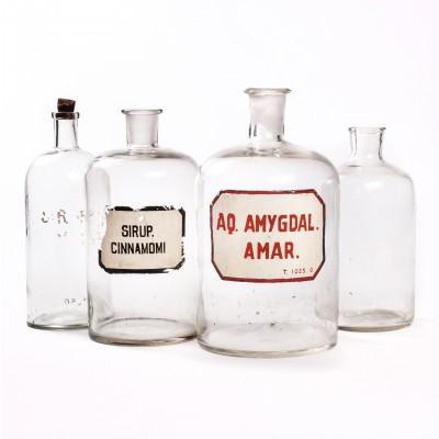 Zestaw butelek aptecznych, szkło bezbarwne, 4 szt.