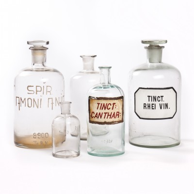 Zestaw butelek aptecznych, szkło bezbarwne, 5 szt.