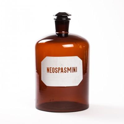 Duża butelka farmaceutyczna na Neospasminę, szkło brunatne, 5l