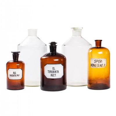 Zestaw butelek aptecznych XXL, szkło brunatne i bezbarwne, 5 szt.