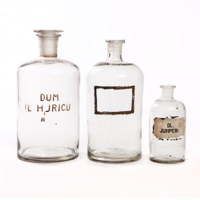Zestaw butelek aptecznych, szkło bezbarwne, 3 szt.