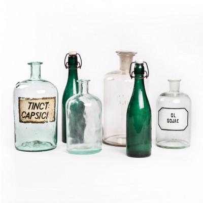 Zestaw butelek aptecznych, szkło zielone i bezbarwne, 6 szt.