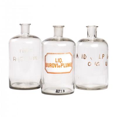 Zestaw butelek aptecznych, szkło bezbarwne, 2 szt.