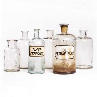 Zestaw butelek aptecznych, szkło bezbarwne, 6 szt.