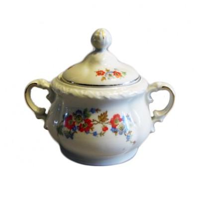Cukierniczka z dwoma uszkami. Porcelana, sygn. C. T. Tielsch – Altwasser