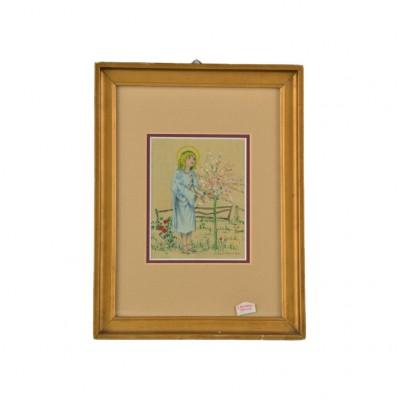 Obraz z wizerunkiem dziecięcej Marii, sygn. J. Szubertówna, akwarela gwasz na papierze