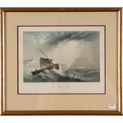 Żagiel na morzu (Ein Segel, im See), E. Hayes/W.French. Staloryt kolorowany w passe partout. Posiada sygnaturę autorską. ok. 1850 r.
