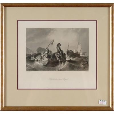 Helgoländer beim Bergen, Eugene le Poittevin/W.French. Staloryt z tytułem i nazwiskiem autora. ok. 1850 r.