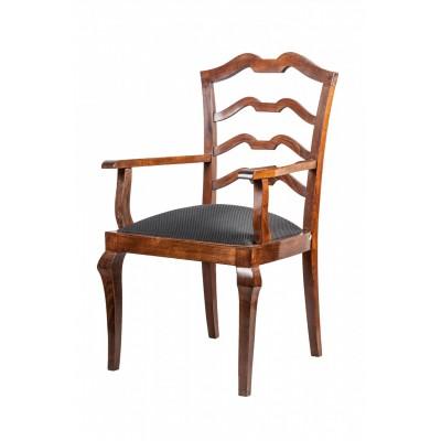 Projektowany fotel w stylu art deco. Dekoracyjne oparcie. Dewno politurowane, tapicerowany, Polska, lata  30. XX w.