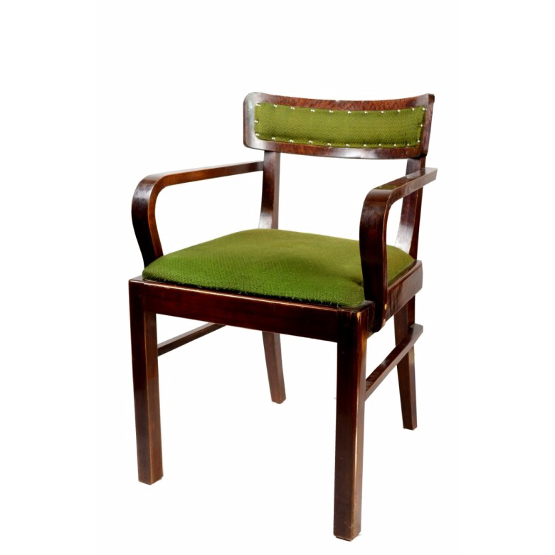 Fotel w stylu art deco, drewno bukowe bejcowane na orzech, oryginalna tapicerka, lata 20. XXw.