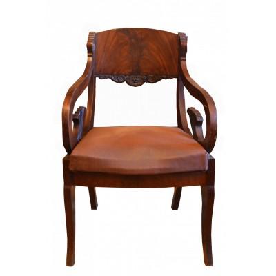 Fotel w stylu biedermeier, drewno bejcowane na ciemny kolor, okleina, oryginalna tapicerka, I poł. XIX w.