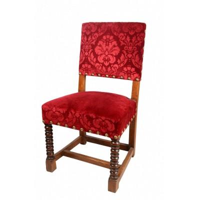 Fotel w typie renesansowym, dąb toczony, politurowany, tapicerowany aksamitem fakturowanym w ozdobny ornament, koniec XIX w.