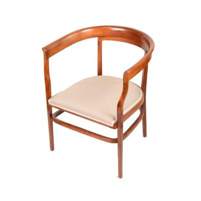 Fotel z oparciem w kształcie litery U, jasny buk, politurowany, tapicerowany tkaniną w kolorze szarości, po 1910 r.
