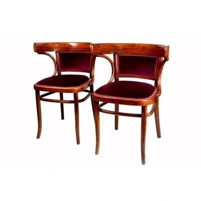Fotele Thonet w burgundowym aksamicie. Buk gięty fladrowany i politurowany, Austria, pocz. XX w.
