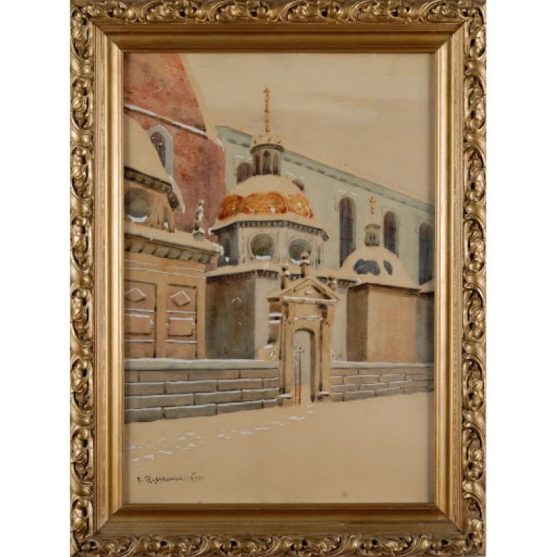 Kaplica Zygmuntowska na Wawelu. Sygn. Franciszek Rybakowski.  1930 r. Akwarela na papierze.