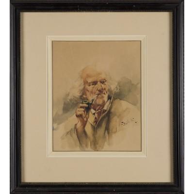 Portret mężczyzny w stroju z epoki. Franciszek Zajchowski. Akwarela na papierze. Obraz sygnowany nazwiskiem autora.