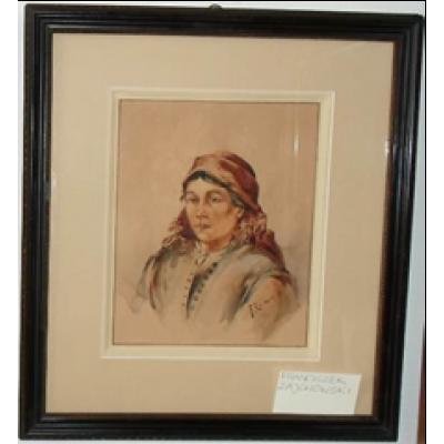 Portret wiejskiej dziewczyny, Franciszek Zajchowski. Akwarela na papierze w passe partout. Obraz sygnowany nazwiskiem autora.