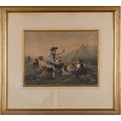 Pasterz opowiadający historię, Friedrich Hiddemann. Chromolitografia. 1868 r.
