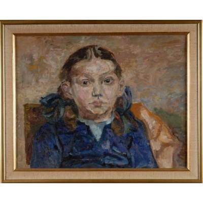 Dziewczynka w błękicie. Halina Jastrzębska. Olej na płótnie. Poł. XX wieku.